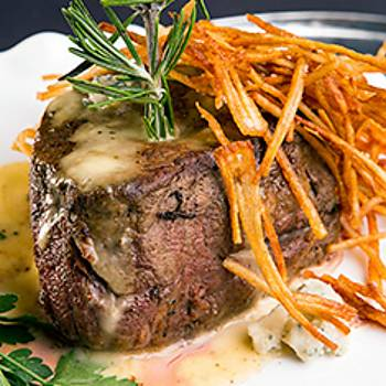 Tenderloin Steaks with Blue Cheese Sauce and Rosemary Potato Sticks